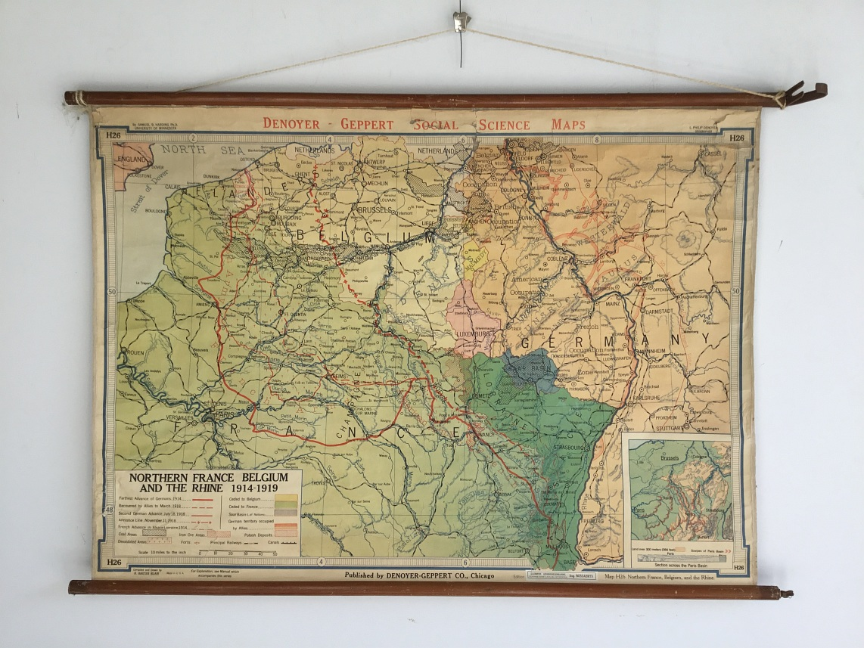Originele Oude Geschiedkundige Schoolkaarten