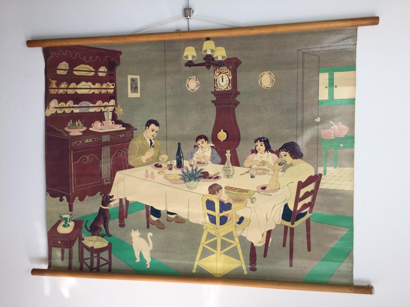 Oude schoolkaart van de eetkamer - Deco van de eetkamer ...